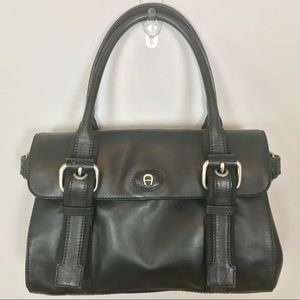 Etienne Aigner black leather buckle tote